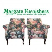 The elegant design of these occasional dark floral armrest chairs feature curved handcrafted wooden legs and luxurious deep seating. Wooden, Interior Design Advice, Chair, Home Decor, Dark Floral, Lounge Furniture, Lounge Areas, Armchair, Elegant Design