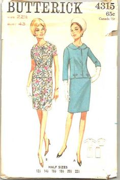 Vintage 60s Suit Pattern Straight Skirt Jacket by weezieduzzit, $10.00