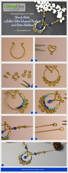 PandaHall Original DIY - How to Make a Golden Wire Wrapped Pendant and Chain Necklace from LC.Pandahall.com | Jewelry Making Tutorials & Tips 2 | Pinterest by Jersica