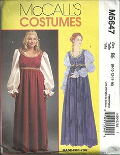 Mccalls 5647, Misses & Women's Renaissance Costumes, Size 8-10-12-14-16