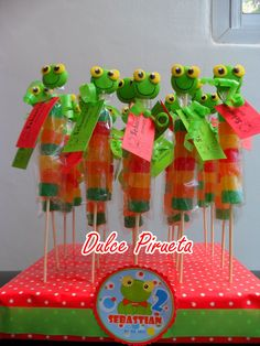 Candy Kabobs, Frog Theme, Baby Shawer, Vacation Bible School, Snack Bar, Candy Buffet, Cold Porcelain, Ideas Para, Minions
