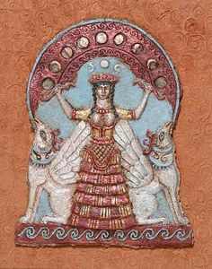 Minoan: Bell shape ruffle skirt, fitted bodice, hair is curry, headdress for ceremonial use.
