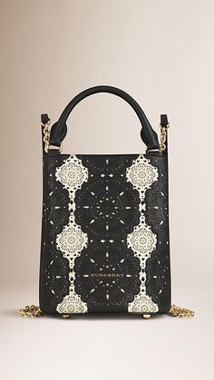 Natural/black The Bucket Backpack in Laser-cut Lace Leather - Image 1