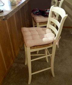Really superb, will be ordering another set soon! Red Dining Chairs, Ladder Back Dining Chairs, Dining Chair Cushions, Ticking Stripe, Wishbone Chair, American Made, Counter, Latex, Red And White