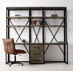 RH TEEN's French Library Double Desk With Drawers:Study hall. Inspired by a mid-1940s Eastern European library bookcase, our artisanal collection is handcrafted of aged iron and hardwood. An antique patina replicates the original.