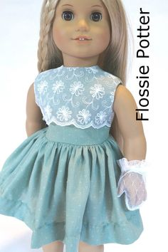 Flossie Potter Little '50s Dress Doll Clothes Pattern 18 inch American Girl Dolls   Pixie Faire
