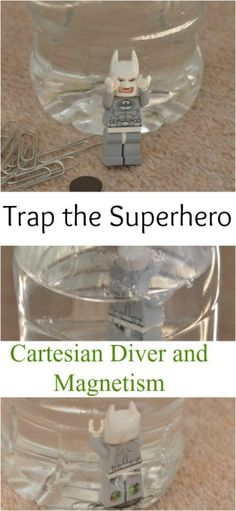 How to make a cartesian diver with an extra special superhero theme and a bit of magnetism thrown in for good measure. Science Activities For Kids, Cool Science Experiments, Stem Science, Science Lessons, Stem Activities, Science Education, Mad Science, Physical Science, Stem Projects