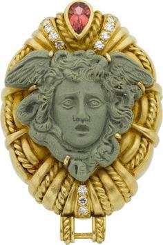Judith Ripka Lava Cameo, Tourmaline, Diamond, Gold Brooch