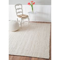 nuLOOM Handmade Eco Natural Fiber Braided Reversible Jute White Rug (8' x 10')