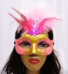 Pink and Gold Masquerade Masks with Feathers