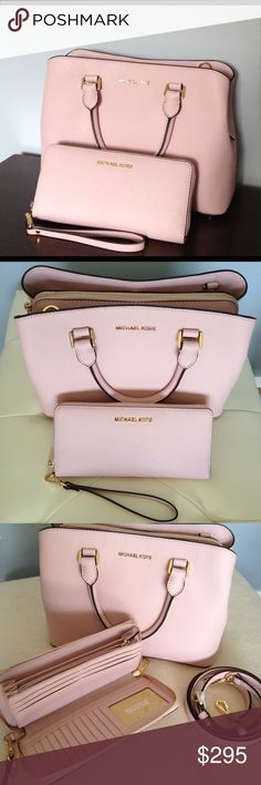 """Michael Kors Matching Set in Pink MK Savannah Medium Satchel & Jet Set Continental Wallet. Color is Blossom. Wallet: Removable wristlet strap, top zip closure, measures 8.25""""W X 4""""H X .75"""" D. Purse: Center zip compartment, 2 open compartments, 4"""" double handles & adjustable 21-24"""" shoulder strap. Measures 12.5""""W X 8.5""""H X 5""""D. Both items are brand new with tags attached! MICHAEL Michael Kors Bags"""