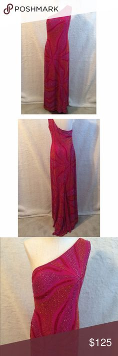 Pink Beaded One Shoulder Prom Dress I wore this beauty for a mayors ball.  Pink, Red Orange, Lilac Beaded Dress. Perfect for Prom. Dresses Prom