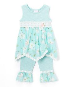Another great find on #zulily! Moonstone Beach Floral Dress & Leggings - Infant, Toddler & Girls #zulilyfinds