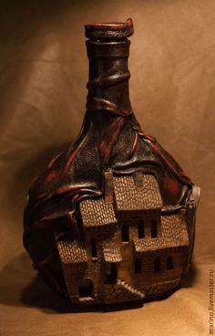 Подарочное оформление бутылок ручной работы. Заказать Бутылка, просто, бутылка. Миронов Марино. Ярмарка Мастеров. Подарок на свадьбу, стекло Empty Wine Bottles, Wine Bottle Art, Diy Bottle, Wine Bottle Crafts, Painted Wine Bottles, Glass Bottles, Bottle Lamps, Diy Crafts Slime, Slime Craft