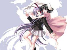 2girls animal_ears black_hair bunny_ears bunnygirl dress inaba_tewi long_hair purple_hair red_eyes reisen_udongein_inaba short_hair skirt touhou yuuki_tatsuya
