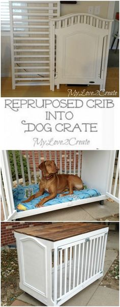 How clever is this repurposed crib turned into a dog crate from My Love 2 Create. clever!!
