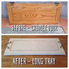 Kitchen cabinet door repurposed as long tray.