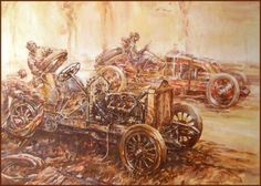 The First Grand Prix 1906 by Gordon Crosby ピクセル Vintage Racing, Vintage Cars, Motorcycle Art, Automotive Art, Car Painting, Grand Prix, Photo Art, Classic Cars, Steampunk