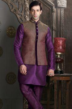 Purple raw silk & Rust brocade zai worked waist coat kurta-KR292