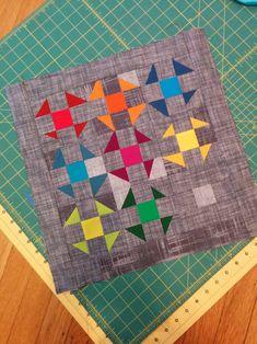 cute mini quilt idea - rainbow churn dash blocks