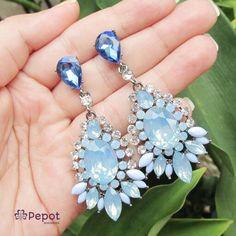 Brinco de festa com pedras azuis #brinco #azul #festa