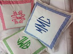 Love the key border around the pillow with matching monogram!
