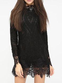 Black Lace Dress - Layered Lace / Mini / Jumper Style