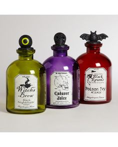 NN Decorate for October with these Halloween potion bottles! Get them here: http://www.bhg.com/shop/world-market-halloween-potion-bottles-set-of-3-p5226b7f9e4b0e8a7e1c7f241.html