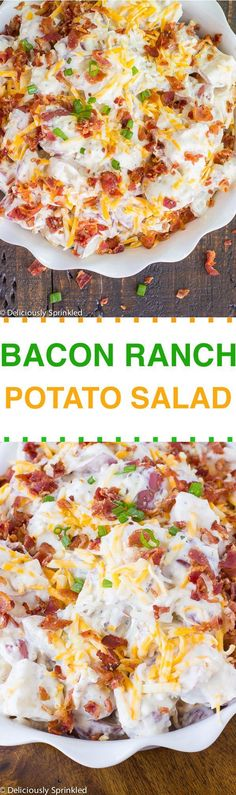 CREAMY BACON RANCH POTATO SALAD This quick and easy to make Creamy Bacon Ranch Potato Salad is the perfect side dish! How is it the LAST week of June already!? Summer is just flying by WAY too quickly! So before Summer is over (LOL), I want to share with all of you my quick and …