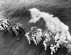 WWII Burial at sea aboard USS Hancock for those killed by Japanese kamikaze attack two days prior, off Okinawa, Japan, 9 Apr Uss Hancock, Uss Yorktown, Brave, Mystery Of History, United States Navy, Pearl Harbor, Aircraft Carrier, World War Two, Historical Photos