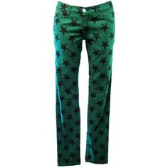 Death Kitty Green Star Skinny Jeans | Gothic Clothing | Emo clothing | Alternative clothing | Punk clothing - Chaotic Clothing