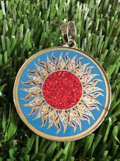 "Manipura Chakra Necklace Turquoise Gemstone 1.5/8"" Pendant Sterling Silver #gift    eBay"