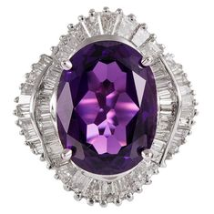10.83 Carat Amethyst Diamond gold Ballerina Ring   From a unique collection of vintage cocktail rings at https://www.1stdibs.com/jewelry/rings/cocktail-rings/