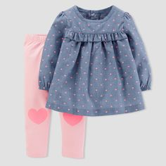 Baby Girls' Hearts Chambray Pants Set - Just One You™ Made by Carter's® Blue - image 1 of 1 Frock Design, Baby Dress Design, Baby Girl Dress Patterns, Baby Outfits, Winter Outfits For Girls, Kids Outfits, 2t Girl Clothes, Smocked Baby Clothes, Frocks For Girls