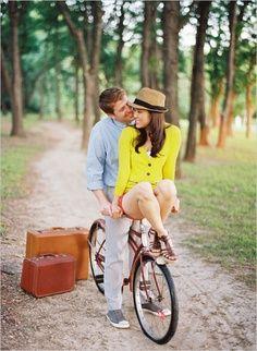 bicycle vintage suitcases fedora engagement photo session