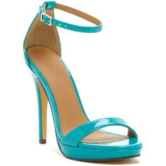 Michael Antonio Lovina Island Platform Sandal ($27) ❤ liked on Polyvore featuring shoes, sandals, teal, open toe sandals, ankle strap platform sandals, high heel platform sandals, teal shoes and teal sandals