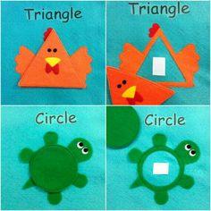 Trabalhar as formas geométricas, a coordenação motora grossa e o espaço! Círculo e triângulo!