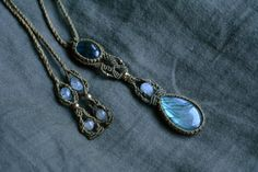 Labradorite macrame necklace macrame jewelry by EarthCraftHandmade