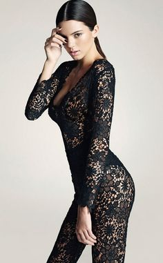 Kendall Jenner with black lace in all the right places . . .