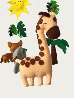Safari Mobile Jungle Mobile Felt Mobile Bebe Animal Mobile | Etsy Garland Nursery, Nursery Decor, Zoo Decor, Its A Girl Banner, Elephant Mobile, Name Bunting, Cot Mobile, Safari Nursery, Felt Ball