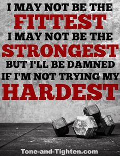 The only person you compete with is yourself. Fitness motivation at Tone-and-Tighten.com