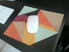 I made this mouse pad from leather scraps!