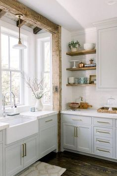 Home Decor Kitchen Today we have a round-up of inspiring non-white kitchens for those of you craving a different look. Sherwin Williams Repose Gray Cabinets - Gold Hardware - Quartz Counter Tops - Wood Beams in Kitchen - Rustic Kitchen - Farmhouse Kitchen Country Interior Design, Interior Modern, Interior Design Kitchen, Interior Design Inspiration, Design Ideas, Modern Luxury, Style Inspiration, Design Styles Interior, Rustic Modern