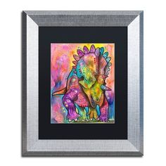 "Trademark Global 'Triceratops' by Dean Russo Framed Graphic Art Size: 14"" H x 11"" W x 0.5"" D, Matte Color: Black"