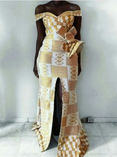 Yellow and white kente dress ankara African Fashion Designers, African Inspired Fashion, African Print Fashion, Africa Fashion, Ghana Fashion, African Prom Dresses, African Dresses For Women, African Fashion Dresses, Ankara Fashion
