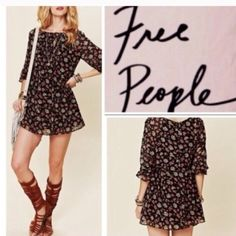 """Free people """"Court me with flowers"""" boho dress Floral design flowy dress by free people.  Very cute and goes a little above the knee. Not interested in trades. Black, yellow, blue and rose pink colors.  Fully lined Free People Dresses"""