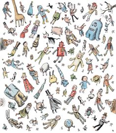 Liniers Kids Patterns, Fabric Patterns, Human Drawing, Cartoon Faces, Humor Grafico, Creepy Cute, Little Monsters, Book Illustration, Textured Background