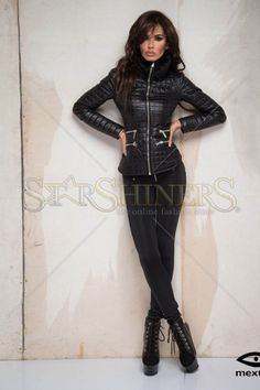 Mexton Fancy Boutique Black Jacket Great Cuts, How To Get Warm, Warm Sweaters, Warm Outfits, Clothing Items, Blazer Jacket, Faux Fur, Leather Pants, Fancy