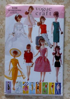 Barbie Doll Playsuit Baby Doll PJs Wedding Dress etc Vogue Pattern 639 Sewing Doll Clothes, Doll Clothes Patterns, Clothing Patterns, Doll Patterns, Barbie Wedding Dress, Barbie Dress, Barbie Room, Baby Doll Pajamas, Vintage Vogue Fashion