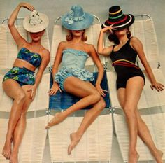 California Swimwear, 1960. Swimwear became more and more uncovered. The women can show their sexy bodies and it is easier to swim than before.